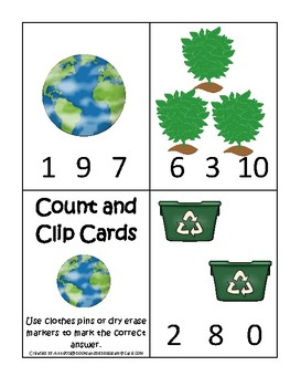 Earth Day themed Count and Clip Preschool Math Card Game.  Counting and Numbers.