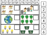 Earth Day themed Match the Number Preschool Math and Count