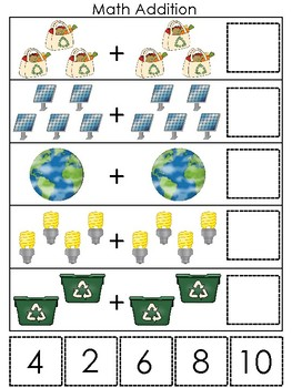 Earth Day themed Math Addition Preschool Math and Coutning Learning Game.
