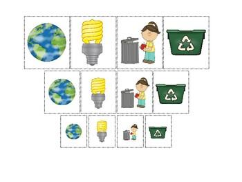 Earth Day themed Size Sorting Preschool Educational Math Board Game.
