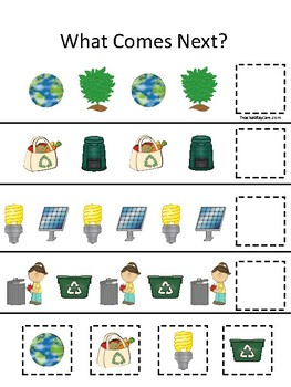 Earth Day themed What Comes Next Preschool Educational Patterning Math Game.