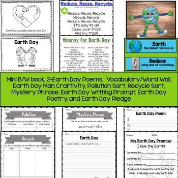 Earth Day with mini book, writing paper, and 20 Activities