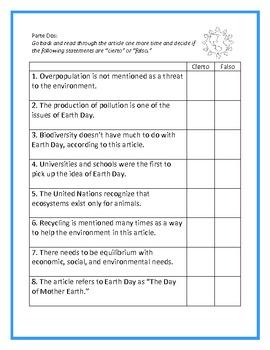 Earth Day/Día de la Tierra y El Medio Ambiente - Authentic Reading Activity