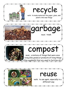Earth Day/Recycling Vocabulary Cards