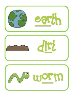 Earth, Dirt, and Worms Pocket Chart Sort for Earth Day