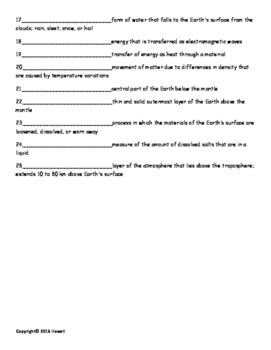 Earth Dynamics Vocabulary Quiz or Worksheet for Environmental Science