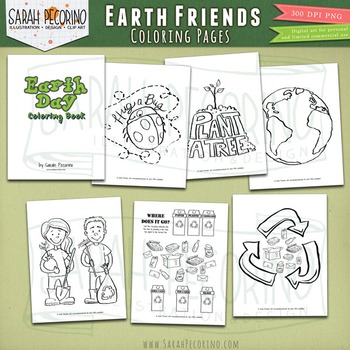 Earth Day Coloring Pages - Earth Friends - Recycling