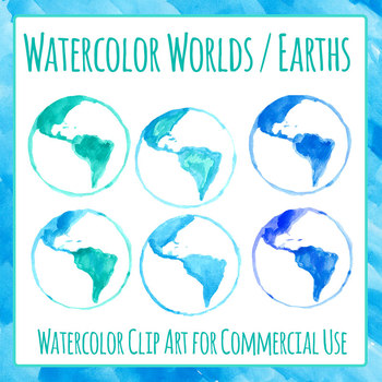 Earth Handpainted Watercolor Digital Paper / Backgrounds Clip Art Set