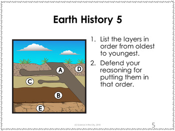 Earth History Exit Ticket or Bell Ringer Task Card Set