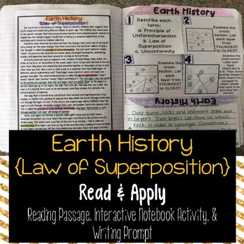 Earth History Law of Superposition Reading Comprehension Interactive Notebook