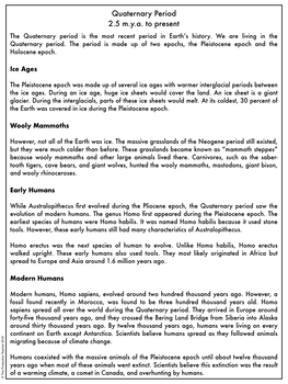 Earth History Reading Passages: Quaternary Period