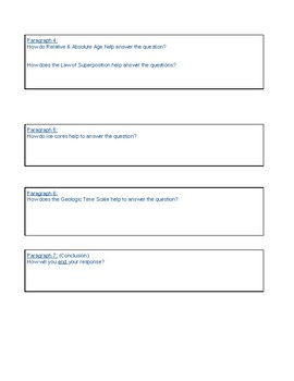 Earth History Written Response Graphic Organizer