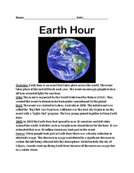Earth Hour - lesson article facts information review questions word search