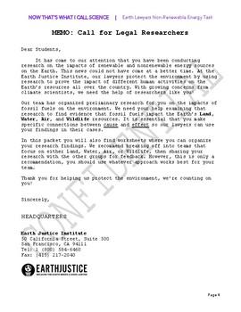 Earth Lawyers Task! Claim/Evidence/Reasoning on Nonrenewable Energy Impact
