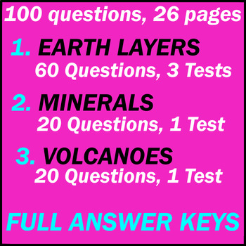 Earth Layers | Minerals | Volcanoes | Earth Science | 100 Questions | Grade 7