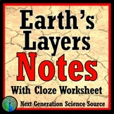 Layers of Earth Cloze Notes & Worksheet NGSS Earth Science MS-ESS2-1