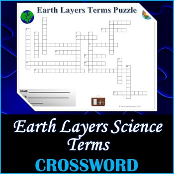 Earth Layers Science Crossword Puzzle Activity Worksheet
