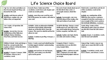 Earth, Life, and Physical Science Choice Board Bundle
