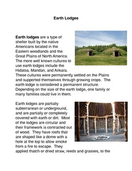 Earth Lodges Common Core Activity