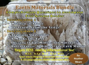 Earth Materials Investigation 1 and 2 Comprehension Questions Foss Science