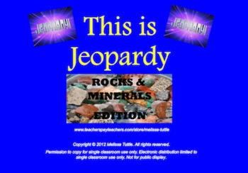 Earth Materials Jeopardy SMARTboard ~ Rocks,Minerals,Calcite,Hardness,Properties