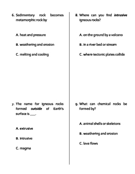 Earth Materials MODIFIED Quiz, Test, or WS