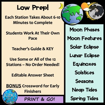 Moon, Seasons, Tides, Eclipses, and Solstices Lab Stations