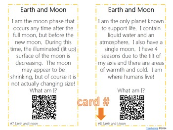 Earth & Moon Task Cards with QR Codes