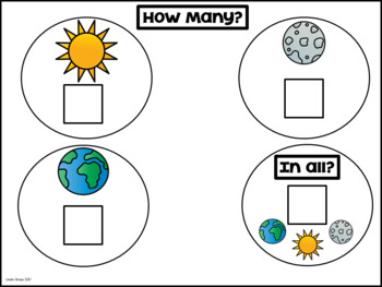 Earth Moon Sun Count, Sort, and Add Math Activity Freebie