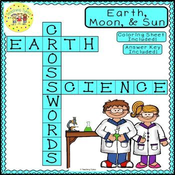 Earth Moon Sun Earth Science Crossword Coloring Puzzle Worksheet Middle School
