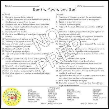 Earth Moon Sun Crossword Puzzle