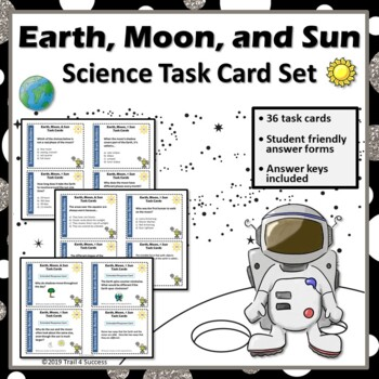 Earth, Moon, + Sun Space Task Cards - 36 Science Cards In All