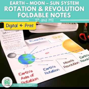 Rotation and Revolution in the Earth-Moon-Sun System Foldable Notes