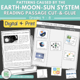 Earth-Moon-Sun System Reading Passage and Cut-and-Glue Digital and Printable
