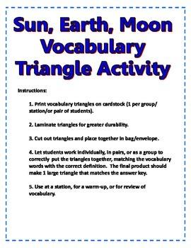 Earth, Moon, Sun Vocabulary Triangles Activity
