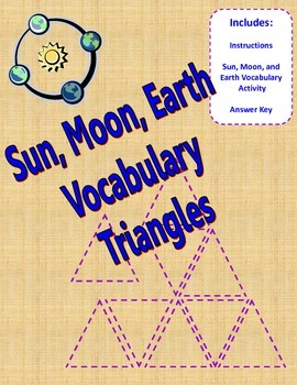 Earth, Moon, Sun Vocabulary Triangles Activity