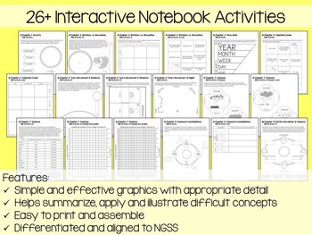 Earth, Moon and Celestial Cycles Interactive Notebook Unit