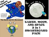 Earth, Moon, and Space 3 in 1 SmartBoard Pack for 3rd Grade