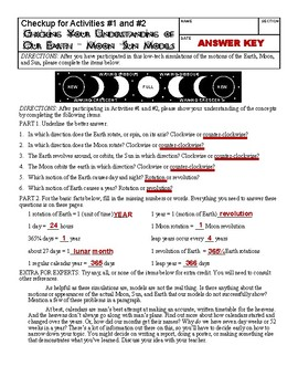 Earth, Moon, and Sun-2 Activities