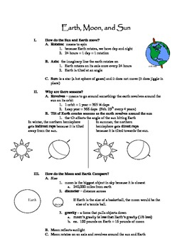 Earth, Moon, and Sun Complete Unit