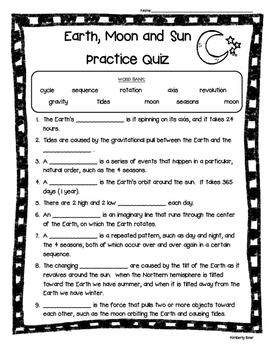Earth, Moon and Sun Practice Quiz