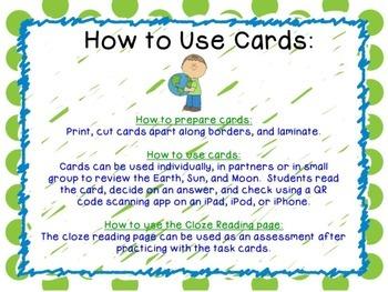 Earth, Moon, and Sun Task Cards