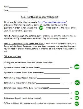 Earth Moon and Sun Webquest