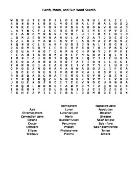 Earth, Moon, and Sun Word Search