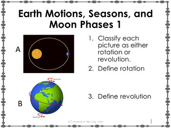 Earth Motions, Seasons, Moon Phases Exit Ticket or Bell Ringer Task Card Set