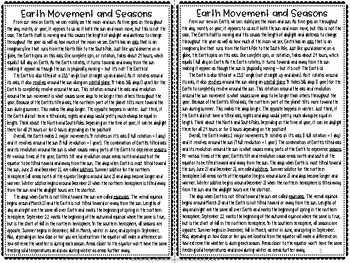 Earth Movement and Seasons Reading Comprehension Interactive Notebook