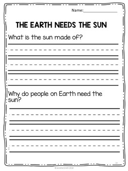 Earth Needs The Sun Science Informational Reading 1st Grade