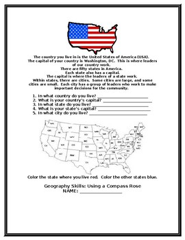 Earth, Our Home Social Studies' Packet for Second Grade