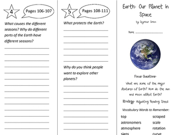 Earth: Our Planet in Space Trifold - Imagine It 3rd Grade Unit 4 Week 5
