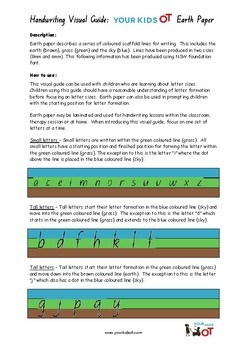 Earth Paper: Visual Writing Lines Package for Handwriting Success!